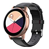 MOTONG for 20mm Samsung Galaxy Watch Active(40mm) Repalcement Band - 20mm Repalcement Genuine Leather Wrist Band Strap for Samsung Galaxy Watch Active SM-R500(Leather Black)