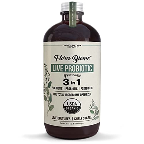 Flora Biome - Live Probiotic, Prebiotic & Postbiotic – Organic, Fermented Live-Culture – 10 Probiotic Strains, 19 Fermented Herbs, 15 Billion CFU - Complete Gut Health & Microbiome Optimizer (16 oz)