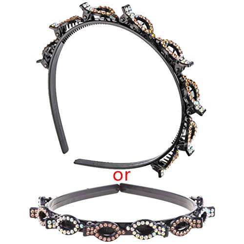 Diadema de plástico de doble capa, doble flequillo con diamantes de imitación - Aro para el pelo de tejido hueco, accesorios de peinado con pinzas de cocodrilo -