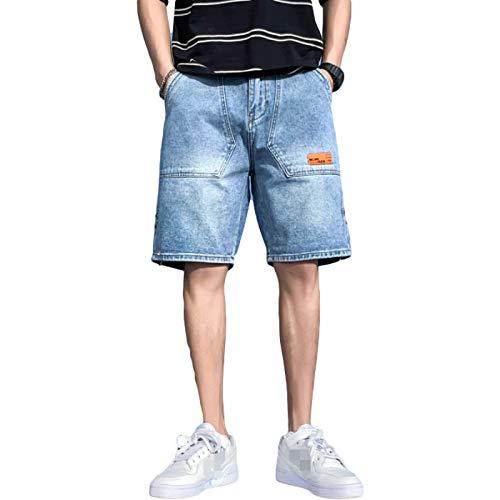 Pantalones Cortos de Mezclilla para Hombre Pantalones Cortos de Carga Recta de Verano XXL