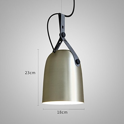 lustre Maniny American Industrial Wind Cafe Pendentif Lampe Restaurant Pendentif/Chambre, Champagne Silver b