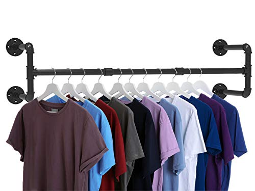 Industrial Pipe Clothes Rack Heavy Duty Wall Mounted Black Iron Garment Rack Clothing Hanging Rod Bar for Laundry Room Closet Storage  43quot L x 12quot W Max load 150 lbs