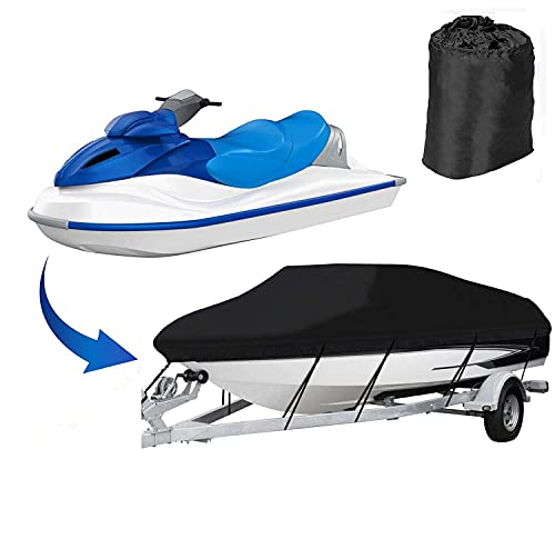 COOSOO Jet Ski Cover Trailerable Jet Ski Cover Cubierta de Moto acuática Personal Impermeable al Aire Libre para 420 * 300cm contra la Lluvia de Polvo Daños UV (Negro)