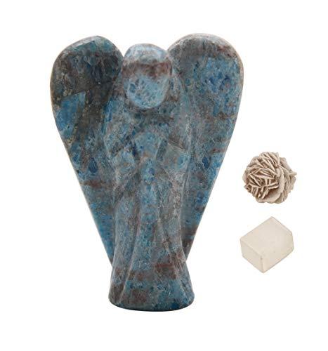 Natural Apatite Reiki Carved Spiritual Gemstone Guardian Pocket Angel Healing | Crystal Therapy | Rose Desert Selenite | Cube Selenite' 2 inches Approx - Blessfull Healing