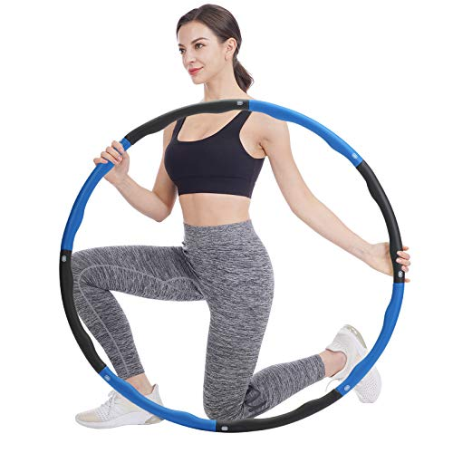 FCREW Hula Hoop zur Gewichtsreduktion,Reifen mit Schaumstoff Gewichten Einstellbar Breit 48–95 cm beschwerter Hula-Hoop-Reifen für Fitness - Blau und Grau