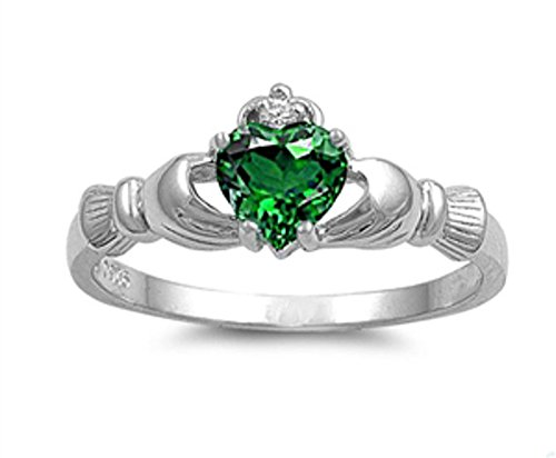 Oxford Diamond Co Irish Claddagh Simulated Emerald Heart Ring Size 10