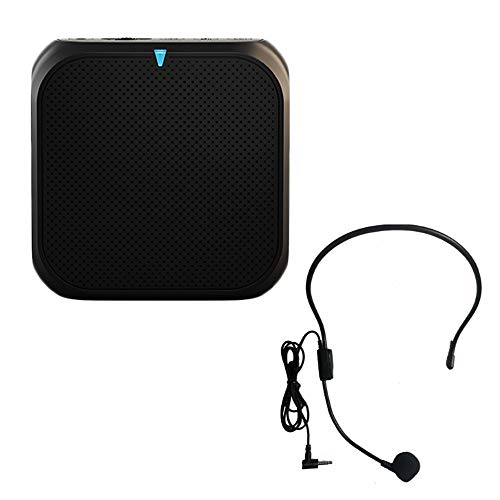 Voice Amplifier Rechargeable Light Speaker with Wired Microphone Headset Portable Waistband 5W USB U Disk/TF for Teaching, Tour Guide, Coache Training and More, Black