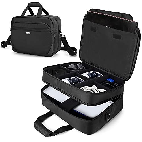 CURMIO Bolsa de Viaje Compatible con PS5, PS4, PS4 Pro, Bolsa Consola, Doble Capa Funda de...