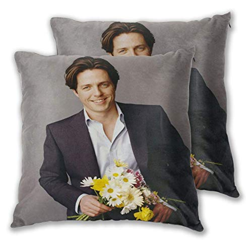 Funda de Almohada Hugh Grant Square Pillow Covers Set of 2, Soft and Cozy Throw Pillow Covers 3D Printed Pillowcase Suitable for Inside and Outside 18