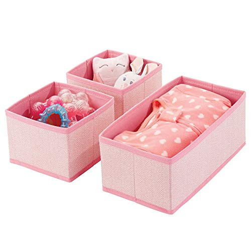 mDesign Soft Fabric Dresser Drawer and Closet Storage Organizer for Kids/Toddler Room, Nursery, Playroom, Bedroom - Herringbone Print - Organizing Bins in 2 Sizes - Set of 3 - Pink