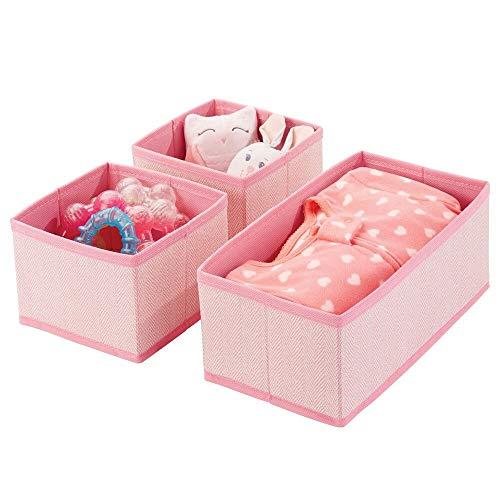 mDesign Set da 3 Organizer in stoffa – Contenitore portaoggetti in fibra sintetica per calze, biancheria, leggins, ecc. – Versatili box per cassetti per camera da letto – rosa