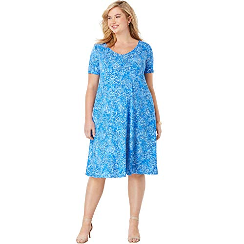 Jessica London Women's Plus Size Crossback Swing Dress - 12 W, Horizon Blue Abstract Watercolor