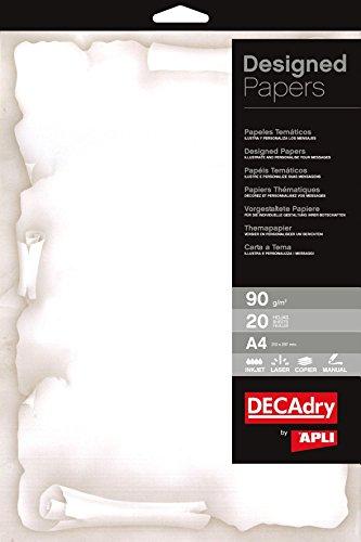Decadry TSC-6720 Carta a Tema, Pergamena, Avorio, 90 G, Confezione da 20