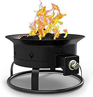 Regal Flame PREMIUM Portable 19 Inch Outdoor LP Propane Gas Fire Pit with Lid, Carrying Straps, and Lava Gas Log Rock Set