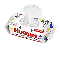 HUGGIES Simply Clean Fragrance-free Baby Wipes, Soft Pack (64 Sheets Total), Alcohol-free, Hypoaller