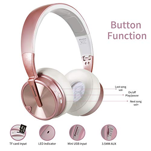 Bluetooth Headphones, Riwbox XBT-90 Foldable Wireless Bluetooth Headphones Over Ear Hi-Fi Stereo Wireless Headset with Mic/TF Card and Volume Control Compatible for PC/Cell Phones/TV/ipad (Rose