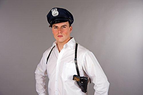 Schulterholster schwarz Kunstleder Polizei Kostüm Polizist Pistolenhalter Fasching