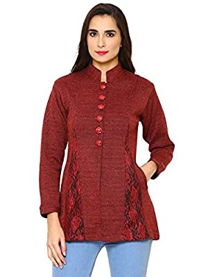 Matelco Women's Buttoned A-line Cardigan with Net Designing