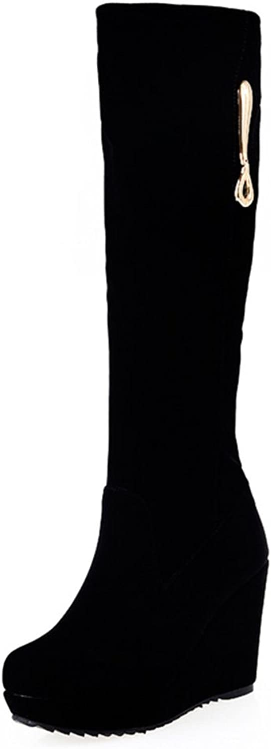 RHFDVGDS Scrub in Autumn and Winter Boots high Boots Black Winter Ladies Boots with Round Head and Boots