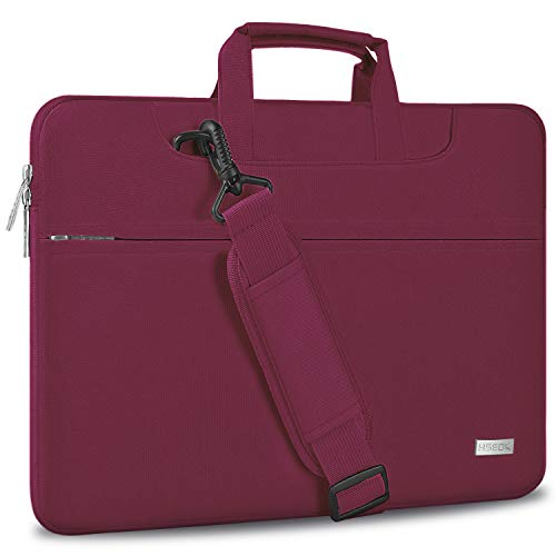 HSEOK Laptop Shoulder Bag 15 15.6 16 Inch Brifecase, Compatible MacBook Pro 16 15.4 Inch, XPS 15 Spill-Resistant Handbag with Shoulder Strap for Most 14'-16' Notebooks, Wine Red