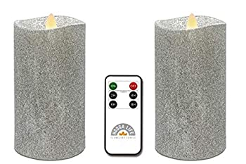 Gift Package 2 Pieces Shiny Silver Flameless Candles  D 3  x H 6   Flickering Flame Effect LED Pillar Candles Battery Operated Real Wax with Timer Function and Remote