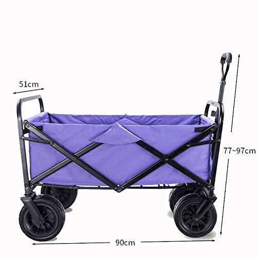 ROGF Carrito de la Compra Todo Terreno Utilidad Carro de la Compra Playa con Mesa for Trabajo Pesado Que dobla para Comprar (Color : Purple, Size : Free Size)
