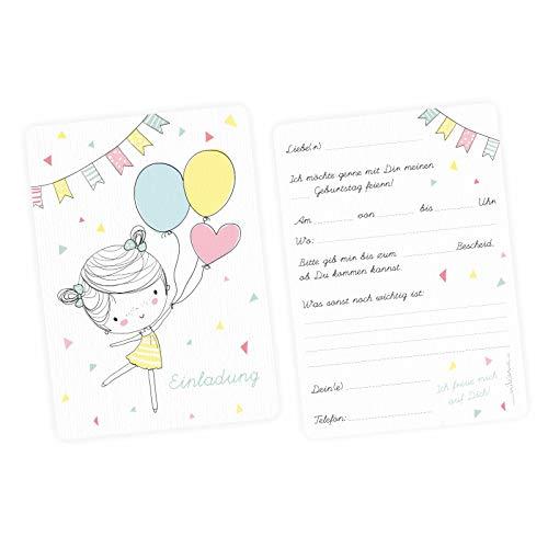 nikima Schönes für Kinder 5 Einladungskarten Mädchen mit Luftballons mit Glitzer inkl. 5 Transparenten Briefumschlägen Kindergeburtstag Mädchene Einladung Pastell Mint Gelb Rosa