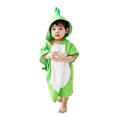 Missley Bebé Dinosaurio Bañera Toallas Niñito Calentar Albornoces Suave Verano playa Toalla 2 Colores Disponible (Verde)