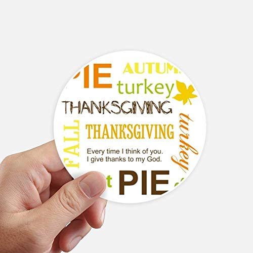 DIYthinker Thanksgiving Day Pie Automne Motif Autocollant Rond 10CM Mur Valise pour Ordinateur Portable Motobike Decal 8Pcs diamètre 10cm Multicolor