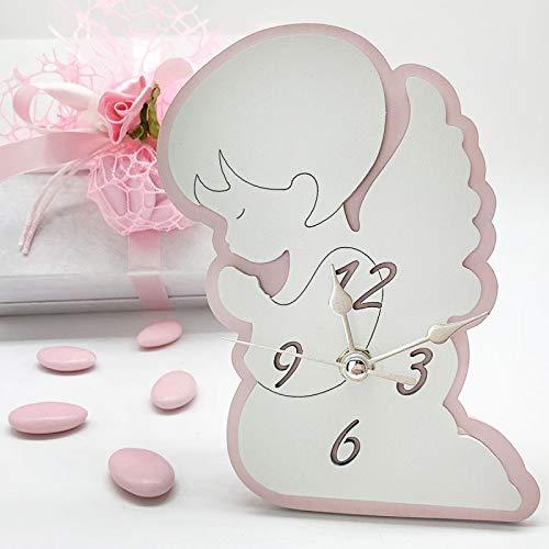 Ingrosso e Risparmio Reloj de madera con diseño de ángel blanco y rosa con manos juntas, ideal como recuerdo de primera comunión, bautizo o niña. Incluye caja de regalo (con caja Tiffany)
