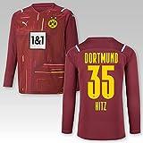 PUMA BVB Torwarttrikot Cordovan Saison 2021/22, Größe:152, Spielername:35 Hitz