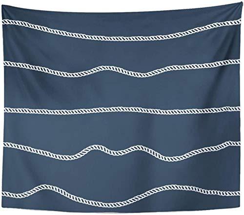 Cuerda Abstracta Azul Líneas Marinas Cable Azul Marino Cordón Tapiz Decoración Para El Hogar Colgante De Pared Para Sala De Estar Dormitorio Dorm-71 'X90'