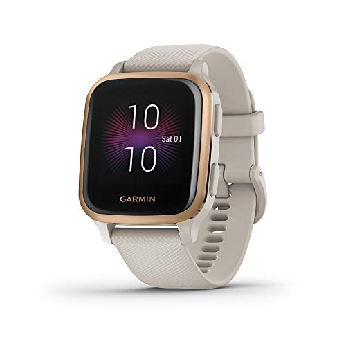 Garmin Venu Sq Music, GPS Smartwatch with Bright Touchscreen Display, Features Music and Up to 6 Days of Battery Life, Rose Gold with Tan Band (010-02426-01)