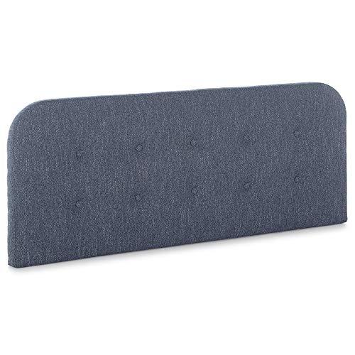 Cabecero tapizado Saona 140x60 cm Color Azul, Acolchado con Espuma, para Cama 135 cm, Botones en capitoné, 8 cm de Grosor, Incluye herrajes para Colgar