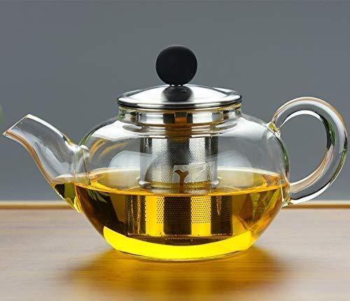 Hervidor, juego de té de cerámica, hervidor de ace Jarra de vidrio con vidrio de hervidor de vidrio  Juego de té de flor de vidrio grueso resistente a la tetera con alta temperatura, 1150 ml