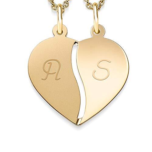 Herzkette Gravur für Paare Gold + inkl. GRATIS Luxusetui + geteilt 2 Hälften für Pärchen persönlich gravierbar Kette Paarkette Herzanhänger gebrochen Gelbgold 333er Goldkette FF411-1 GG33345