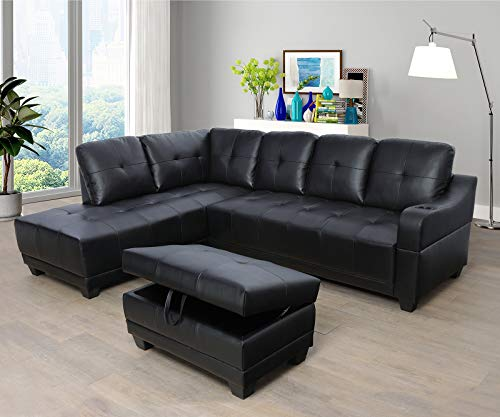 Beverly Fine Funiture Sectional Sofa Set, Black