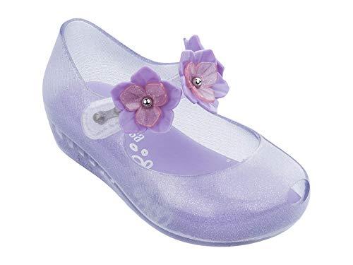 Melissa Girls Mini Ultragirl Flower II Ballet Flat, Purple Clear, Size 9 Toddler
