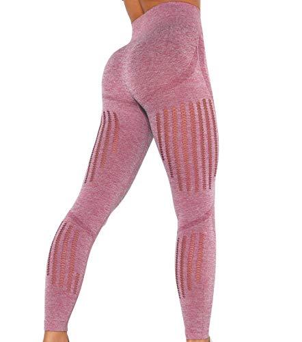 KIWI RATA Leggings Deportivos sin Costuras Mujer Mallas Push Up Cintura Alta Yoga Leggins Pantalón Moda Pantalones Deporte para Correr Fitness Elásticos y Transpirables (Rojo, M)