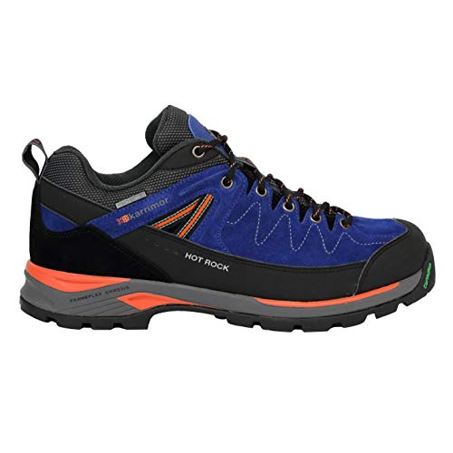 Karrimor Herren Hot Rock Wanderschuhe Wildleder Outdoor Trekking Sport Schuhe Blau/Orange 9.5 (43.5)