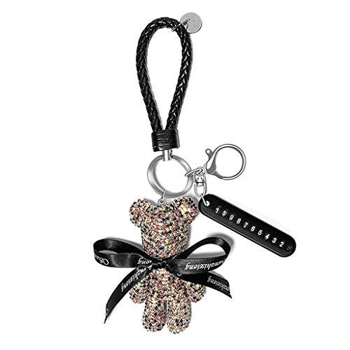 Ours incrusté de diamant pour hommes et femmes porte-clés de voiture anneau anti-perte de voiture porte-clés Pendentif téléphone portable Numéro de téléphone portable porte-clés porte-bague Pendan