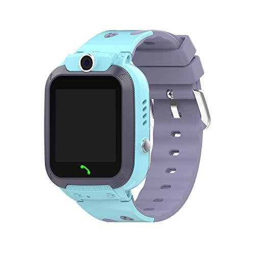 Kamenda Reloj Inteligente Niños Impermeable Deporte GPS Reloj Inteligente Android Niños SOS Llamar Reloj Inteligente con Cámara Tarjeta SIM HD Press Watch-Azul