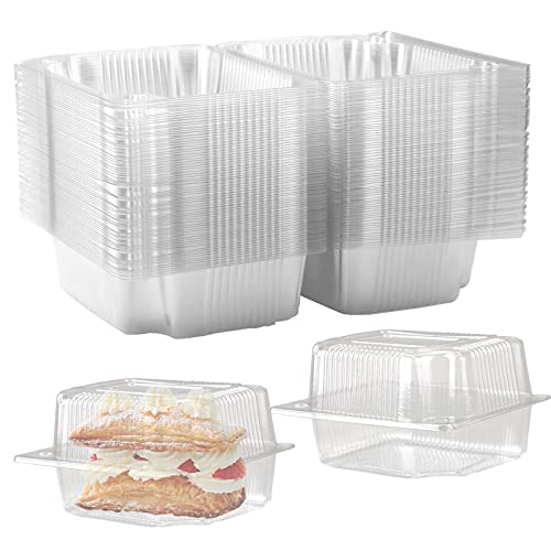 ISUSSER 65 Pack Disposable Portable Clear Plastic Clamshell Food Containers for Salads, Hamburgers, Bread and Sandwiches, Internal Size 6.1 x 4.9 x 3.1 Inch