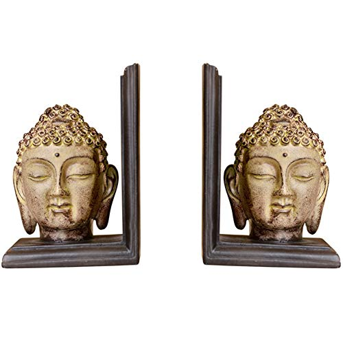 J.Mmiyi Buddha Bookends for Heavy Books, Book Ends for Office Decorative, Office Home Zen Statue Decor Ornaments, 1 Pair,Set