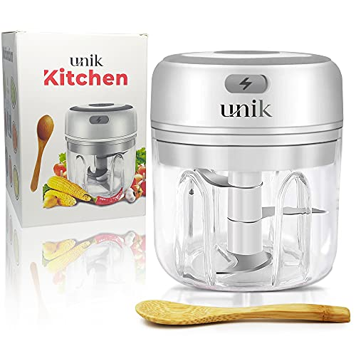 UNIK Electric Mini Garlic Chopper, Garlic Mincer, For Spice And Onion Mincing, Portable Food Processor for Garlic, 250ml White, Easy to Clean Chopping Solution
