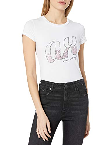 Armani Exchange A|X Damen Lower Case Logo Crew Neck Short Sleeve T-Shirt Hemd, Optic White, Groß