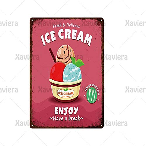 keletop Vintage poster iron sheet summer drinks & ice cream metal tin sign retro wall plaque decoration for beach house club bar theme hotel20*30cm