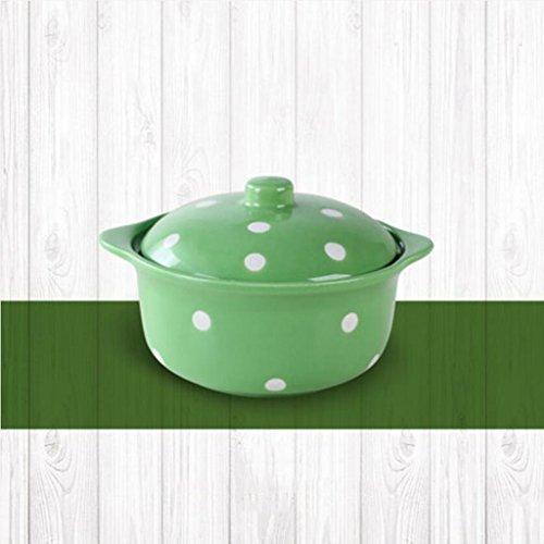 Liuyu Kitchen Home Wave Point Céramique avec couvercle Soupe Bowl Home Salad Bowl Vaisselle Lovely Face Bowl Dessert Bowl Soup Basin 400ml (Couleur : Vert)