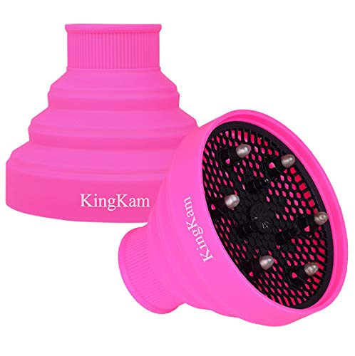 Collapsible Silicone Hair Dryer Diffuser - Travel and Easy Storage - Fit Nozzle Diameter D-1.575Inch to 1.968 Inch (4-5cm)-Pink