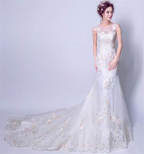 LYJFSZ-7 Vestido De Novia,Vestido De Novia De Cola Larga De Sirena De Lujo, Vestido De Noche Delgado para Mujer, Mercado Hermoso Y Elegante, Blanco